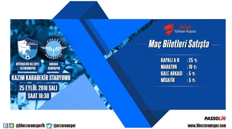 Büyükşehir Belediye Erzurumspor – Ankara Demirspor Maç Biletleri Satışta